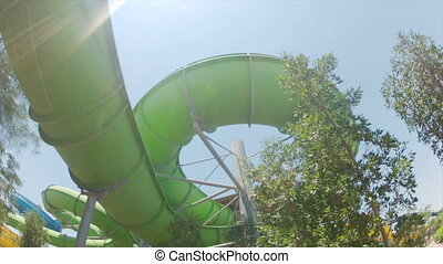 water park, roller coaster bottom view HD