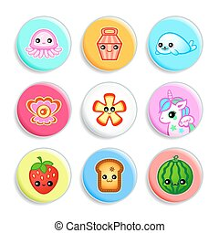 Kawaii badges - Set II - Set of badges with the cute...