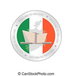 Irland - Isolated label with a flag of ireland and a...