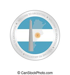 Argentina - Isolated label with a flag of argentina and a...