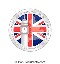 United Kingdom - Isolated label with a flag of united...