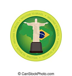 Brazil - Isolated label with a brazilian flag and a...