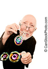Priest Blowing Bubbles on White Background