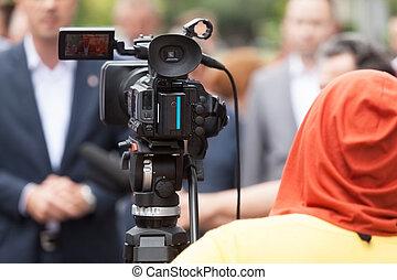 壓, 會議, 影像, 照像機
