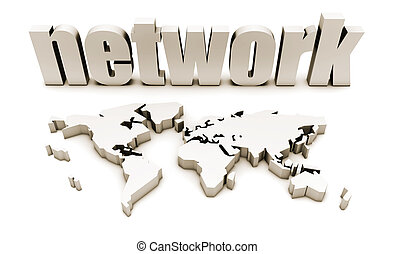 Global Network in 3d with World Map