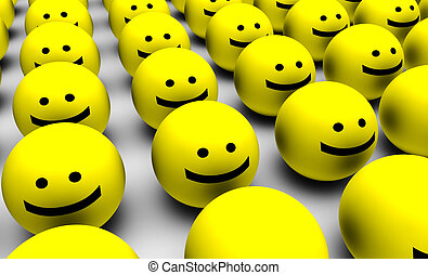 Smiley Faces Background - 3D Round Smiley Faces as...