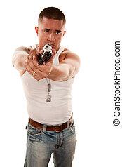 Man pointing handgun - Hispanic man pointing a handgun...
