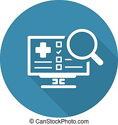 Search Online Instruction and Medical Services Icon. Flat...