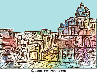 Naples. abstract multicolor silhouette of italian city