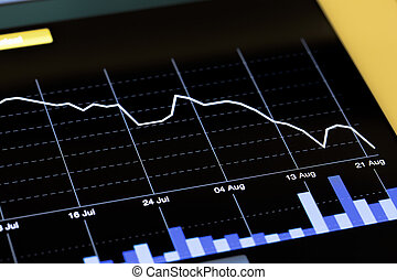 Stock Market Chart Going Down Open from Tablet