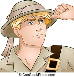 Blond Nature Explorer - Vector illustration of a blond...