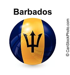 barbados state flag - barbados official state button ball...
