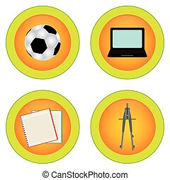 School Supplies - Set of round labels with school supplies....