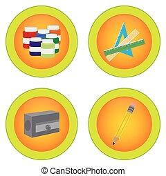 School Supplies - Set of round labels with school supplies....