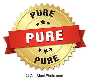 pure 3d gold badge with red ribbon