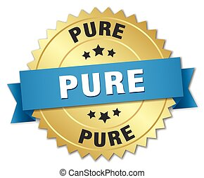 pure 3d gold badge with blue ribbon