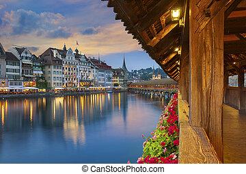 Lucerne. - Image of Lucerne, Switzerland during twilight...