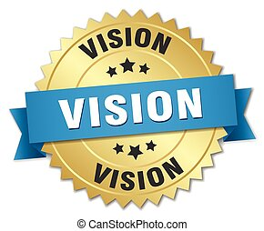 vision 3d gold badge with blue ribbon