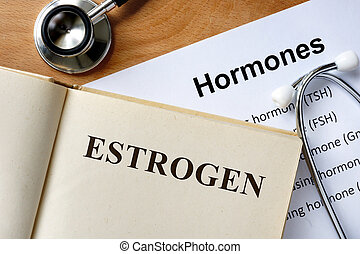 Estrogen word written on the book and hormones list