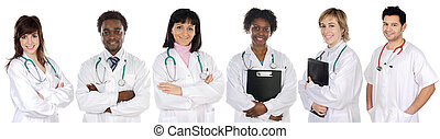 Multi-ethnic medical team a over white background