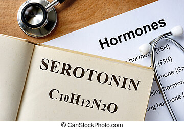 Serotonin word written on the book and hormones list