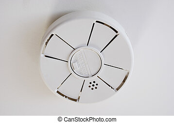 Battery Operated Smoke Detector on Ceiling - Battery...