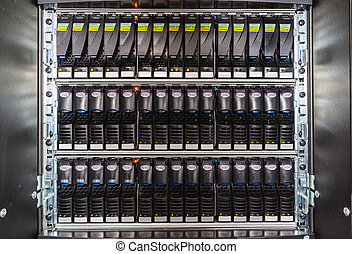 set of hard drives - set of black hard drives in the storage...