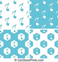 Eighth note patterns set, simple and hexagon, blue and white