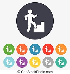 Upstairs icon Human walking on ladder sign Round colourful...