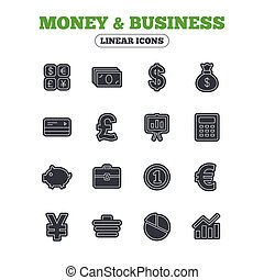 Money and business icon. Cash and cashless money - Money and...