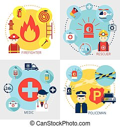 Emergency, Firefighter, Rescuer, Medic, Policeman - Rescue,...
