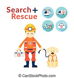 Rescuer with Dog, Search and Rescue Icons - Emergency, First...