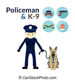 Policeman with K9 Dog - Illustrate and Icons