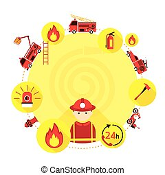 Firefighter and Equipment Icons Round Frame - Emergency,...