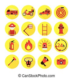 Fire and Firefighter Flat Icons Set - Emergency, Fireman,...