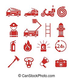 Fire and Firefighter Monochrome Icons Set - Emergency,...