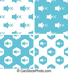 Muted loudspeaker patterns set, simple and hexagon, blue and...