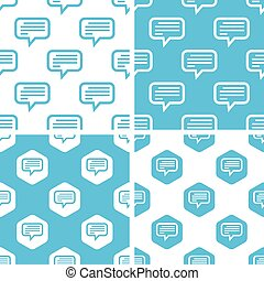 Text message patterns set, simple and hexagon, blue and...