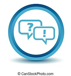 Question answer icon, blue, 3D
