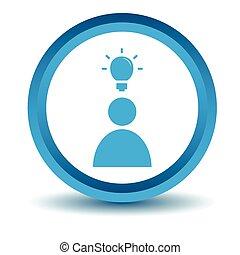 Idea icon, blue, 3D