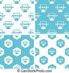 Sitemap patterns set, simple and hexagon, blue and white