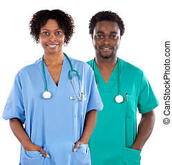 Couple of African Americans doctors a over white background