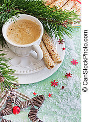 christmas coffee - cup with coffee and cookies on the...