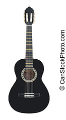 Classical Acoustic Guitar Isolated on a White Background -...