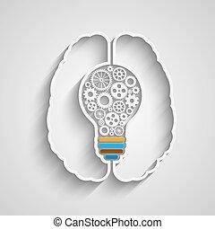 Human brain creating a new idea. Creative bulb with gears....