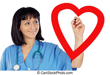 medical cardiologist drawing a heart on a white background