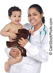 Nurse holding baby - Young nurse holding baby over white...