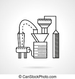 Line vector icon for factory - Flat line design vector icon...