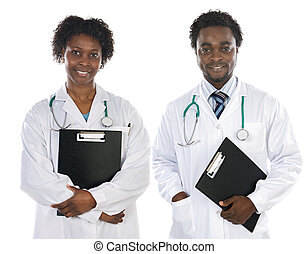 Couple of African Americans doctors a over white background...