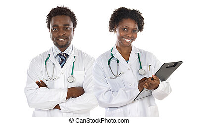 Couple of African American doctors a over white background